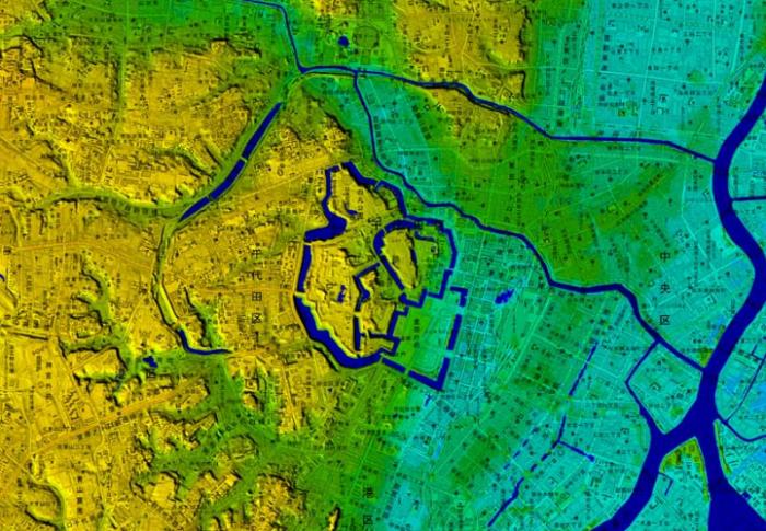 牛ヶ淵、千鳥ヶ淵デジタル標高図
