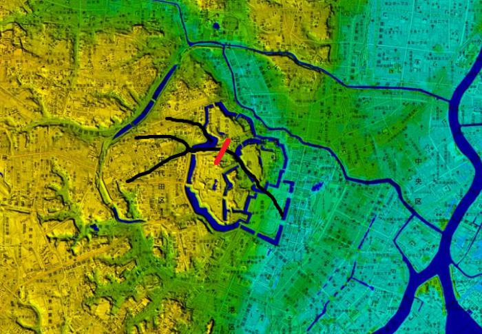 デジタル標高図に昔の河川の流れを追記
